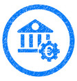 euro bank settings rounded icon rubber stamp vector image vector image