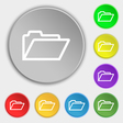 Folder icon sign Symbol on eight flat buttons vector image vector image