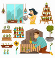 gardening hobpeople calm pastime with nature vector image vector image