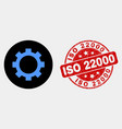 gear icon and grunge iso 22000 seal vector image vector image