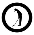 golfer icon black color in circle vector image