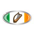 irish flag oval button vector image vector image