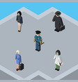 isometric person set of girl officer detective vector image vector image