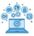 laptop targeting marketing online on blue vector image