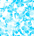 Light blue paint effect hibiscus seamless pattern vector image vector image
