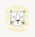 lion hand drawn cute doodle vector image vector image