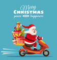 merry christmas happy santa claus with a gifts box vector image vector image