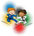 Olympics theme with boys doing taekwando vector image vector image