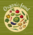 organic fruits and vegetables food hand drawing vector image vector image