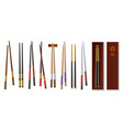 realistic chopsticks asian tableware traditional vector image