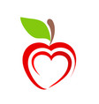 red apple fruit icon with heart symbol on white vector image vector image