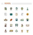 set school college line flat design icons vector image