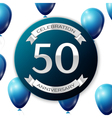 Silver number fifty years anniversary celebration vector image