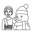 snowman with boy winter cartoon vector image