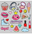 trendy sticker pack heart crown lips sneakers vector image