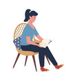 woman reading hardcover book sitting on chair vector image