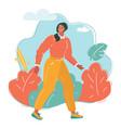 woman walk in park vector image vector image