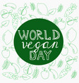 world vegan day template banner poster vector image
