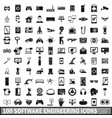 100 software engineering icons set simple style vector image vector image