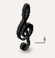 3d isometric pixel art violin clef icon made of vector image vector image