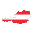 austria map flag design isolated on white vector image vector image