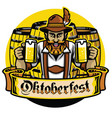 bearded bavarian man with beer barrel vector image vector image