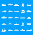 boat icons set simple style vector image vector image
