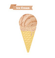 brown ice cream in cone chocolate taste vector image vector image