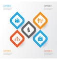 business icons set collection of work man vector image vector image