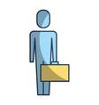 businessman holding briefcase standing character vector image vector image