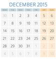 Calendar 2015 December design template vector image vector image