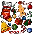 Christmas colored toy set vector image vector image