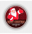 christmas red round sign with the silhouette of vector image vector image