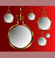 christmas white balls in gold rim vector image vector image
