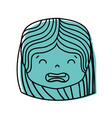 color girl head with hairstyle and disgusted face vector image vector image