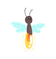 cute cartoon firefly character vector image vector image