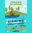 fishing season or fisherman tournament poster vector image vector image