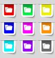 Folder icon sign Set of multicolored modern labels vector image