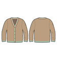 front and back view of a knitted cardigan vector image vector image