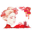 geisha and chinese lanterns vector image