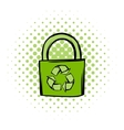 Green eco bag comics icon vector image vector image