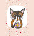 greeting card design with cute fox keeps a gift vector image