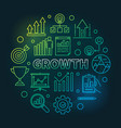 growth circular colored outline round vector image vector image
