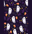 halloween ghost seamless pattern on purple vector image vector image