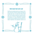 Hand drawn snowman frame vector image