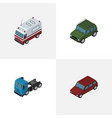 isometric automobile set of first-aid truck car vector image vector image