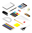 isometric office stationery set collection vector image