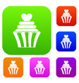love cupcake set color collection vector image vector image
