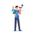 man holding children flat vector image vector image