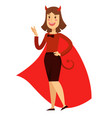 office worker woman in devil costume with horns vector image vector image